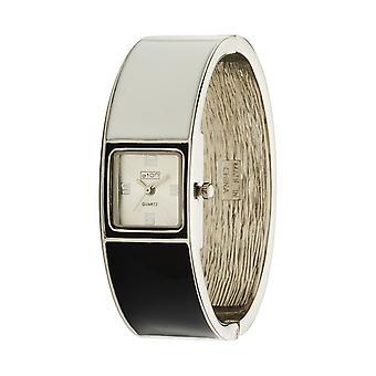 Eton Fashion block Blk/Wht Enalelled Bangle Watch 3118L-BKWT