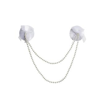 Womens Pearl Strand Reusable Round Bridal Satin Pasties Nipple Covers White OS