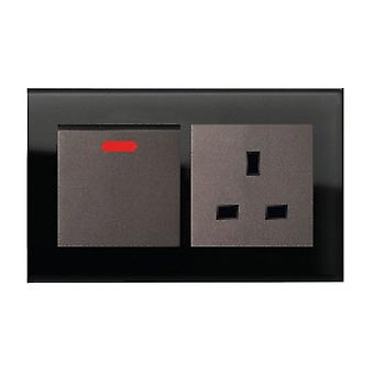 I LumoS AS Luxury Black Crystal Glass Double 45A Switch with Unswitched 13A UK Socket