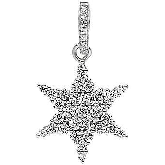السيدات قلادة ستار 925 ستيرلينغ فضة 38 زيركونيا ستار قلادة النجمة الفضية