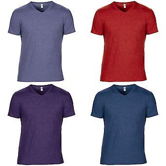 Anvil Mens Short Sleeve Tri-Blend V-Neck T-Shirt