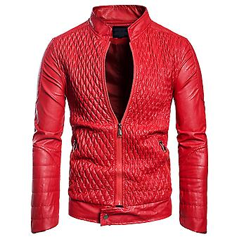 Cloudstyle Men's Faux Leather Solid Stand Collar Motorcycle Jacket