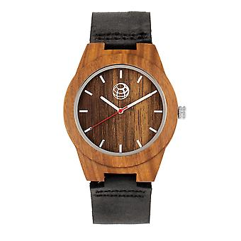 Earth Wood Aztec Leather-Band Watch - Olive