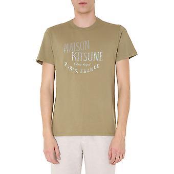 Maison Kitsuné Em00151kj0008lightkhaki Men's Green Cotton T-shirt