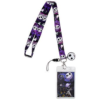 Nightmare Before Christmas Jack Skellington Lanyard with Badge Holder and Charm
