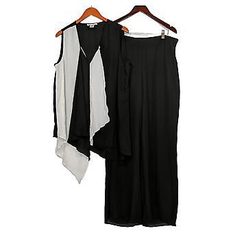 Masseys Plus Set Asymmetric Pant Set Black/White