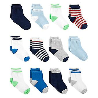 Simple Joys by Carter's Boys' 12-Pack Socks,, Blue/White/Grey, Size 12-24 Months