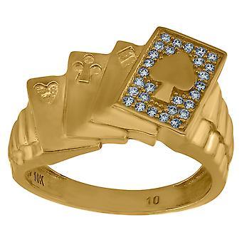 10k keltainen kulta miesten CZ cubic zirkonia simuloitu timantti ace lucky poker bändi rengas toimenpiteet 13.3x3.1mm leveä koko 10 jewe