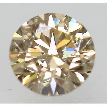 Cert 0.72 Carat Light Brown VVS1 Round Brilliant Natural Loose Diamond 5.71m 3EX
