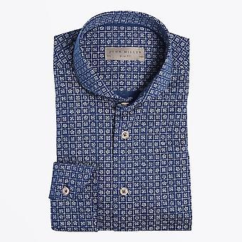 John Miller  - Mini Floral Print Shirt - Dark Blue