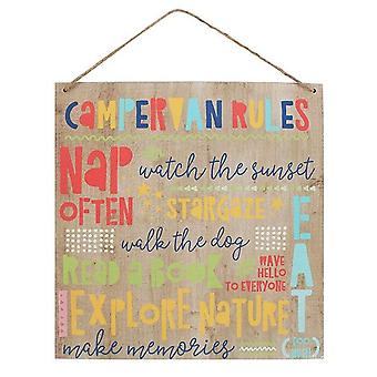 Something Different Campervan Rules Wooden Sign