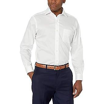 BUTTONED أسفل الرجال & ق الكلاسيكية تناسب Twill تيويل غير الحديد اللباس قميص, أبيض, 17 ...