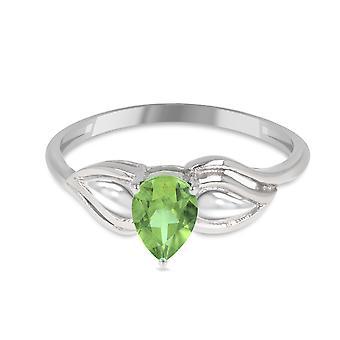 ADEN 925 Sterling Silver Peridot pear shape ring (id 4508)