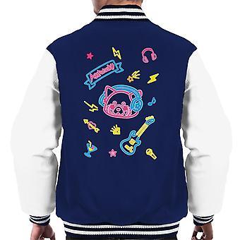Aggretsuko Neon Musikk Menn's Varsity Jacket