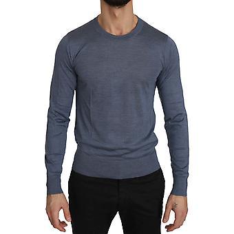 Dolce & Gabbana Blue Crew Neck Blue Silk Pullover Top Sweater