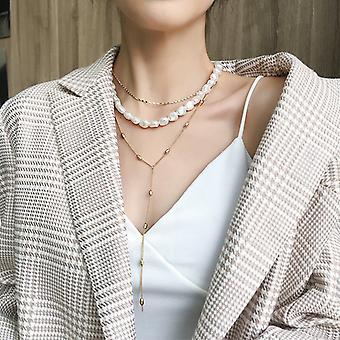 7 in 1 Gold layered Pearl Look Necklace