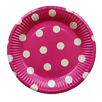 10PCS 7-inch Dot Party Paper Tray Rose Red White Circle