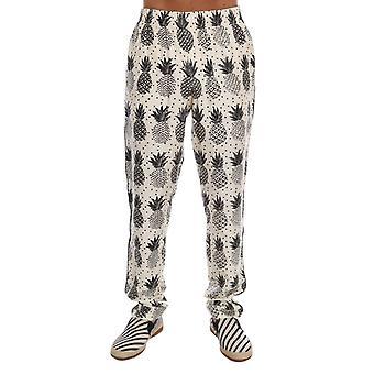 Dolce & Gabbana White Ananas Print Pajama Pants BYX1046-1