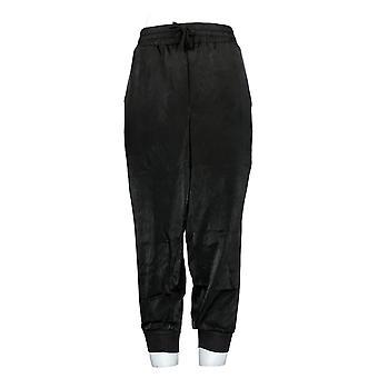 Anybody Women's Petite Pants Satin Jogger Black A345513