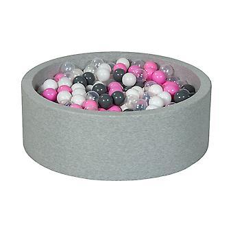 Ballenbak 90 cm met 450 ballen wit, transparant, licht paars & grijs