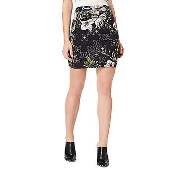 Угадай | Черный цветочный кружева мини-юбка