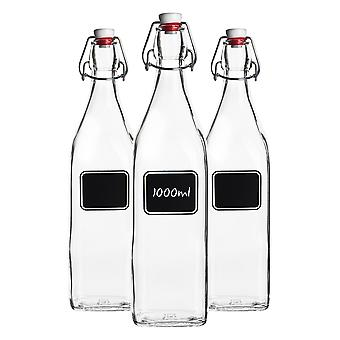 Bormioli Rocco 3pc Lavagna Glass Swing Top Bottle Set with Chalkboard Label - For Preserving, Home Brew - 1L