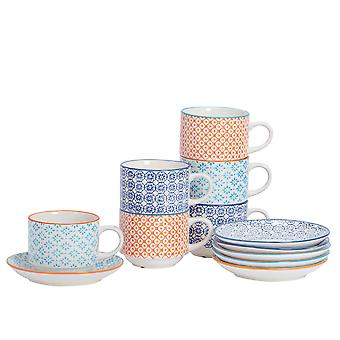 Nicola Spring 12 Piece Hand-Printed Stacking Teacup and Saucer Set - Japanese Style Porcelain Coffee Cups - 3 Colours - 260ml