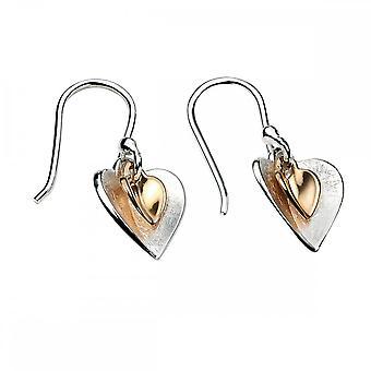 عناصر الذهب الفضي مطلي أقراط القلب مزدوجة E4466Z364
