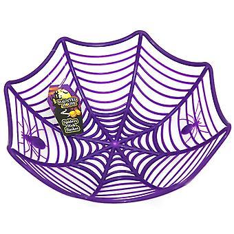 Halloween Cobweb Fruit Basket Spider Web Plastic Bowl Purple