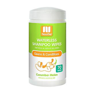 Nootie Waterless Shampoo Wipes for Dogs & Cats - Cucumber Melon, 70 Pack