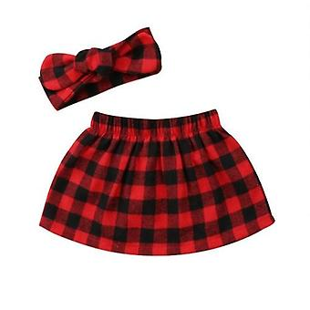 Sweet Christmas Infant Baby Xmas Plaid Skirts Headband Cotton Outfit Vêtements