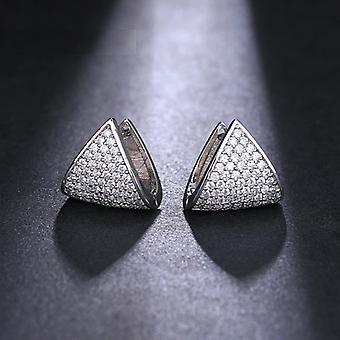 Silber Kristall geometrische Huggie Ohrringe