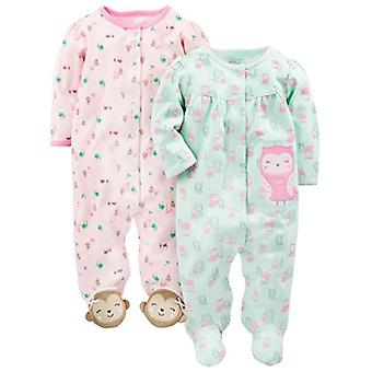 Proste joys by Carter&Apos;s Baby Girls' 2-pack Cotton Snap Footed Sleep and Play