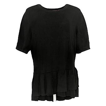 Isaac Mizrahi ao vivo! Women's Elbow-Slv Ruffle Peplum Sweater Black A352389