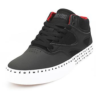DC Shoes Kalis Vulc Mid AC/DC Mens Skate Trainers in Black White Red