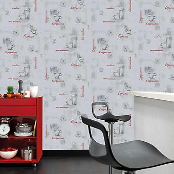 Wallpaper rolls 4 pcs. white 0.53×10 m coffee
