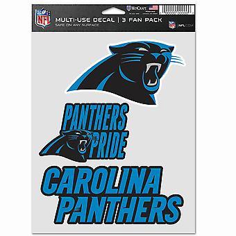 Conjunto multiuso de adesivos da NFL de 3 20x15cm - Carolina Panthers