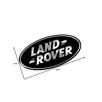 Gloss Black/Chrome Land Rover Front Grill Bonnet Badge Emblem Bonnet Rear Boot Tailgate Badge (Pack of 2) (55x105 mm)
