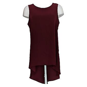 Susan Graver Women's Top Woven Essentials Hi-Low Hem Tunic Red A367779