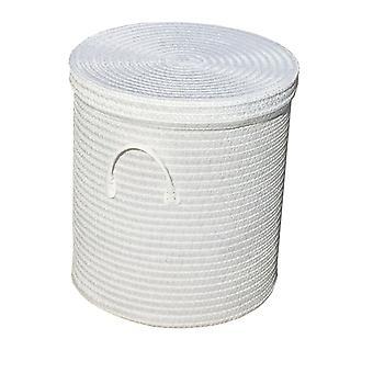 Woven Round Laundry Storage Basket PVC Handle
