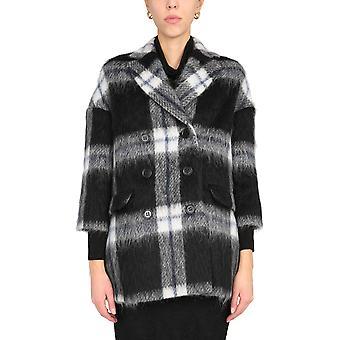 Red Valentino Ur0cac505cv0no Women's White/black Wool Coat