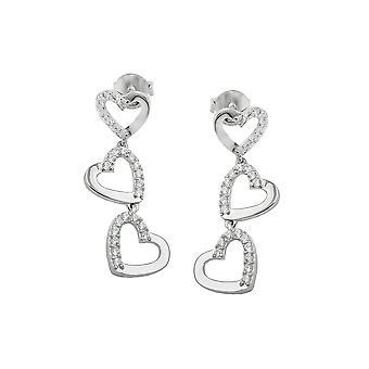 Earrings 3x Hearts Zirconias Silver 925