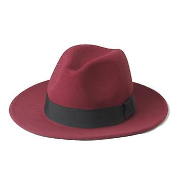 Wool Men Felt Trilby Fedora Hat For Gentleman Wide Brim Top Cloche Panama