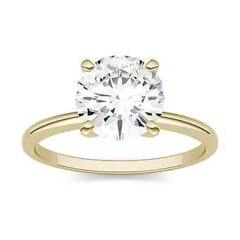 14K Yellow Gold Moissanite by Charles & Colvard 8mm Round Engagement Ring, 1.90ct DEW