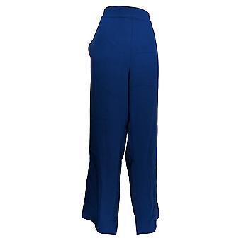 Bob Mackie Women's Pants Straight Leg Woven W/ Side Slits Blue A344974
