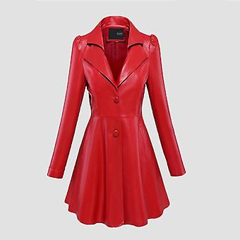 Fit And Flare Faux Leather Coat Notched Lapel Long Sleeve Puff Sleeve Skirted