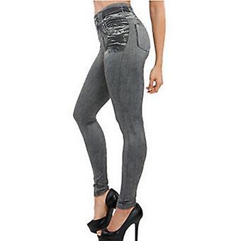 Women's Faux Denim High Waist Leggings With 2 Real Pockets