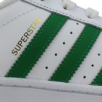 阿迪达斯超级明星基金会鞋白色/绿色黄金金属S81017小学