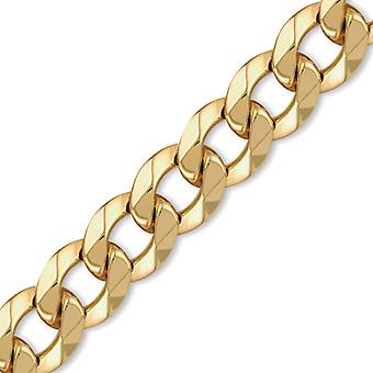 Jewelco London Mens Flash-plated Solid Brass Hand Assembled Heavy Weight Curb Link 18mm Chain Necklace Bracelet