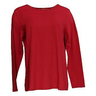 Quacker Factory Women's Top Multi Bling Stones T-Shirts Red A369660
